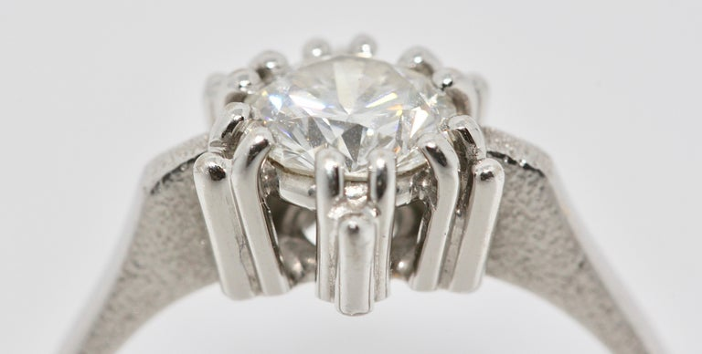 Certified 1.01 Carat Flawless, Top Wesselton Diamond Solitaire, White Gold Ring For Sale 2