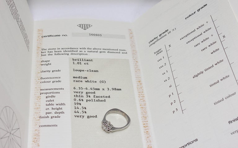 Certified 1.01 Carat Flawless, Top Wesselton Diamond Solitaire, White Gold Ring For Sale 3