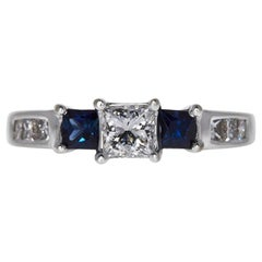 Certified 1.02 Carat 3-Stone Princess Cut Diamond and Sapphire Ring in 14k Gold