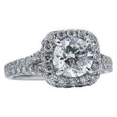 Certified 1.04 Carat Round Diamond in Square Halo Engagement Ring in Platinum