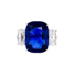 Certified 10.58 Carat Sapphire Diamond Cocktail Ring