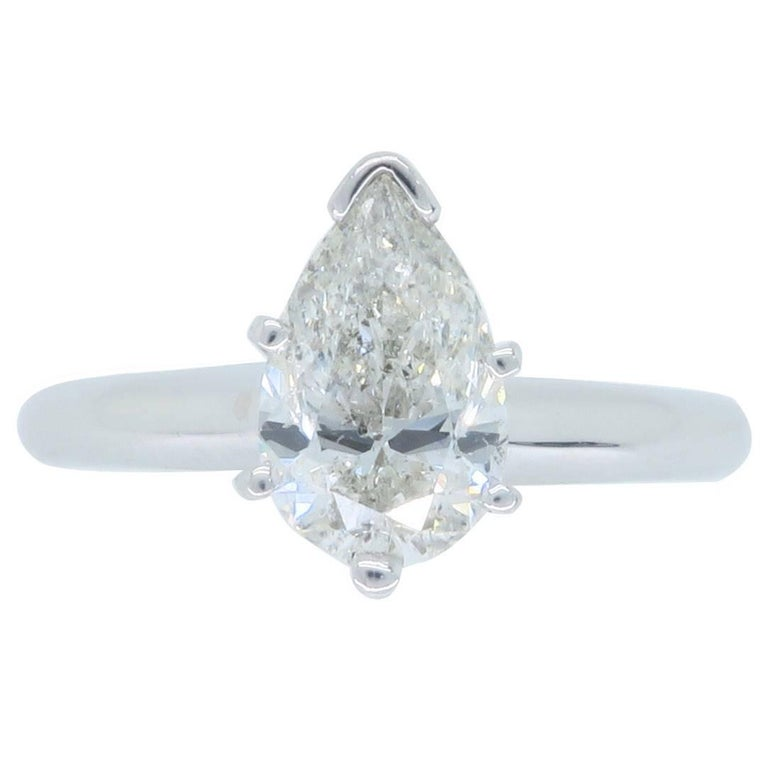 Certified 1.06 Carat Pear Shape Diamond Platinum Engagement Ring