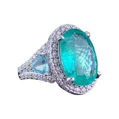 Certified 10.66 Carat Paraiba Tourmaline Diamond Three-Stone Cocktail Ring