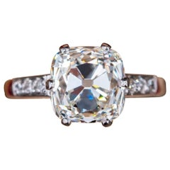 Certified 1.07 Carat Old Mine Cut Cushion Ring