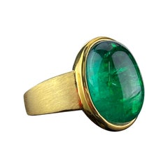 Certified 10.72 Carat Emerald Cabochon Dome Ring