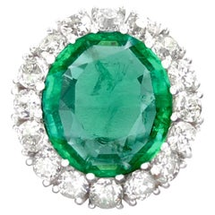 Certified 10.73 Carat Colombian Emerald Old Cut Diamond White Gold Ring