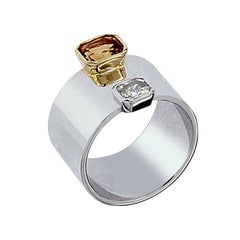 Certified 1.09 Carat Padparadscha Orange Sapphire 0.39 Carat Diamond Gold Ring