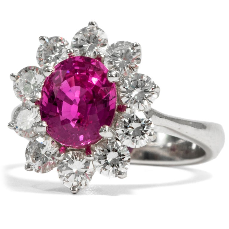 Retro Certified 1.1 Carat Pink Sapphire & 1.4 Carat Diamond Vintage 1970s Cluster Ring For Sale