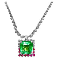 Certified 11.00 Carat Colombian Emerald Ruby Diamond Cocktail Necklace