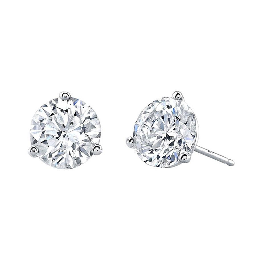 Certified 11.04 Carat Diamond Sollitare Stud Earrings