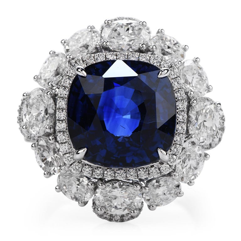 Deep Royal Blue Sapphire & Diamond Large shinny Engagement Cocktail ring,  Hand-Crafted in solid 18K white gold, the center is adorned by a GRS certified vivid Sri Lankan Blue Ceylon Sapphire, cushion shaped, prong cut, weighinga total of 11.17