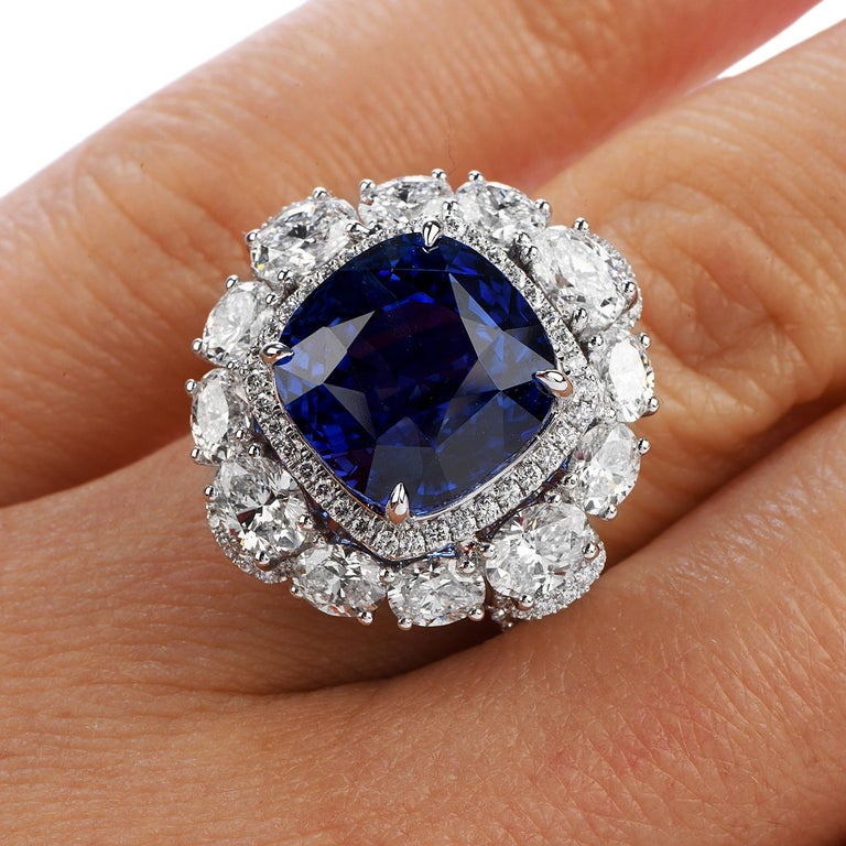 Certified 11.17 Carat Ceylon Sapphire Diamond 18k Gold Cocktail Engagement Ring For Sale 1