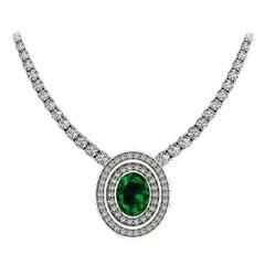 Certified 11.50 Carat Oval Emerald Round Brilliant Cut Diamonds Tennis Necklace