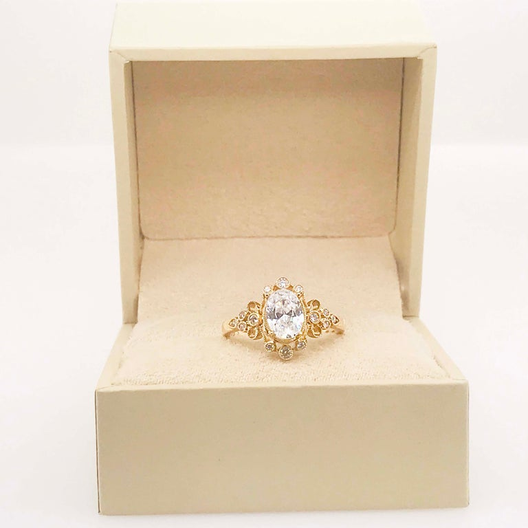 Certified 1.20 Carat Oval Diamond Custom Yellow Gold Engagement Ring For Sale 4