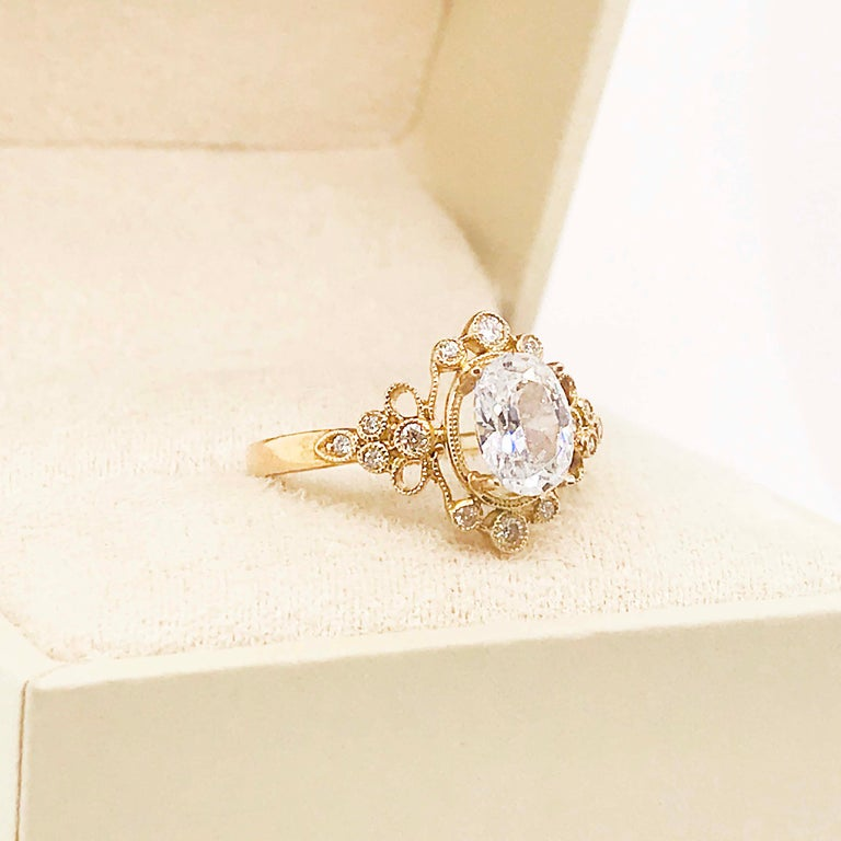 Certified 1.20 Carat Oval Diamond Custom Yellow Gold Engagement Ring For Sale 5