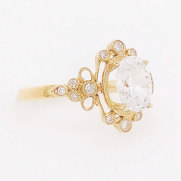 Artisan Certified 1.20 Carat Oval Diamond Custom Yellow Gold Engagement Ring For Sale