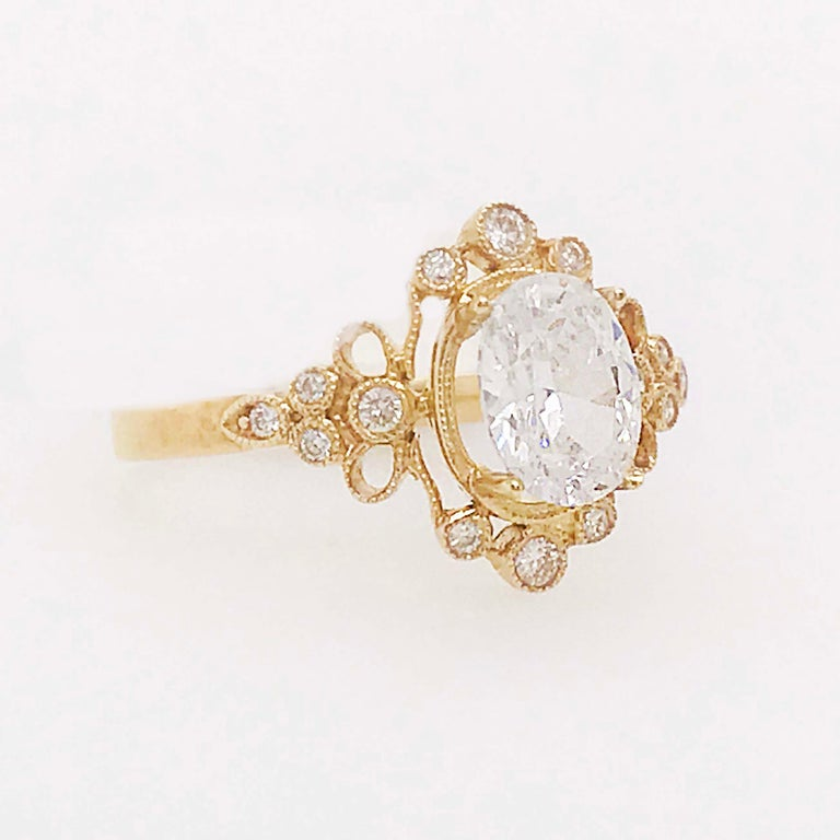 Oval Cut Certified 1.20 Carat Oval Diamond Custom Yellow Gold Engagement Ring For Sale