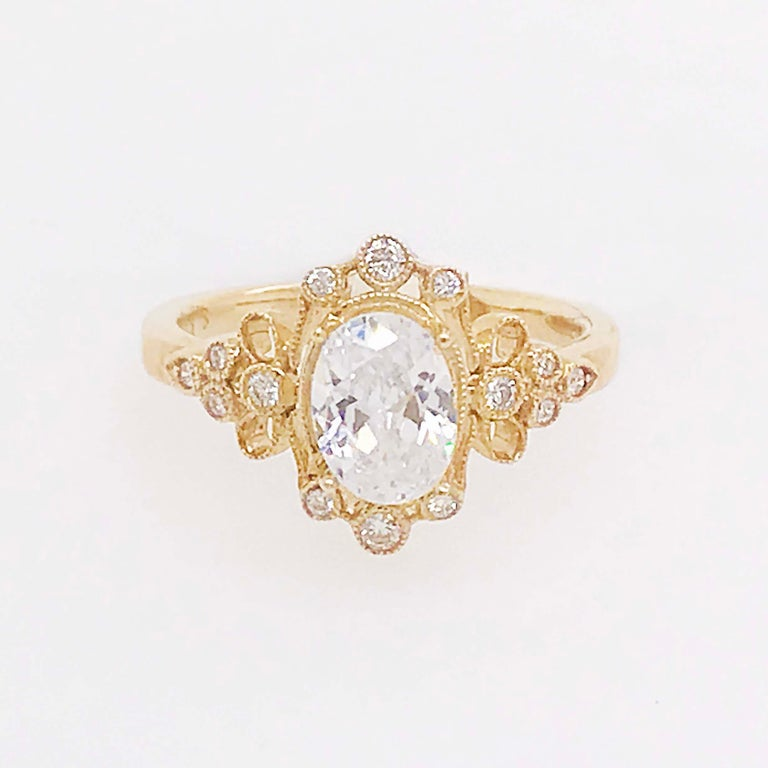Certified 1.20 Carat Oval Diamond Custom Yellow Gold Engagement Ring In New Condition For Sale In Austin, TX