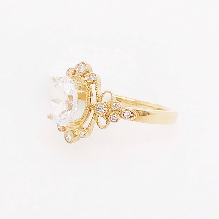 Certified 1.20 Carat Oval Diamond Custom Yellow Gold Engagement Ring For Sale 1