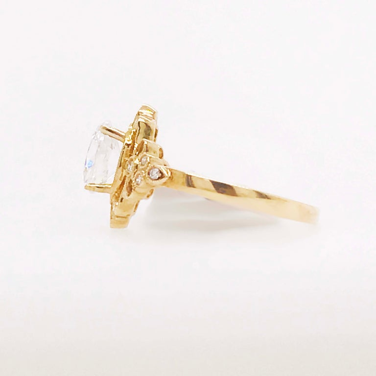 Certified 1.20 Carat Oval Diamond Custom Yellow Gold Engagement Ring For Sale 2