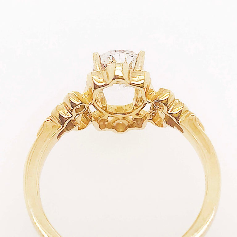Certified 1.20 Carat Oval Diamond Custom Yellow Gold Engagement Ring For Sale 3