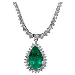 Certified 12.00 Carat Colombian Emerald Diamond Necklace 14 Karat White Gold