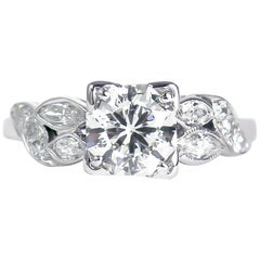 Certified 1.22 Carat Brilliant Round Diamond Art Deco Platinum Ring