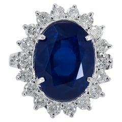 Certified 12.45 Carat Burma Sapphire Diamond Cocktail Ring