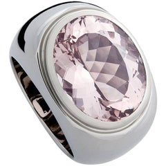 Certified 13.08 Carat Amethyst Precious Basic White Gold Ring