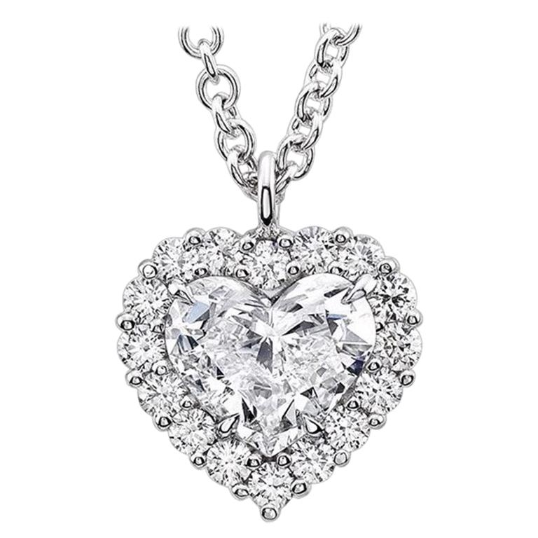 GIA Certified 1.21 Carat Heart Diamond Solitaire Halo Pendant Necklace 14K Gold For Sale
