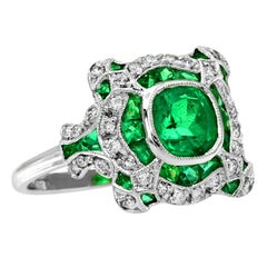 Certified 1.34 Carat Natural Emerald Diamond Cocktail Ring