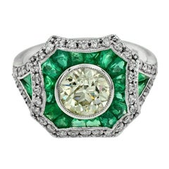 Certified 1.35 Carat Diamond Emerald 18 Karat White Gold Engagement Ring