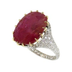 Certified 13.52 Carat Natural Untreated Ruby and Diamond Platinum Ring