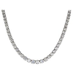 Certified 12.00 Carat Round Diamond Tennis Necklace in 14 Karat White Gold