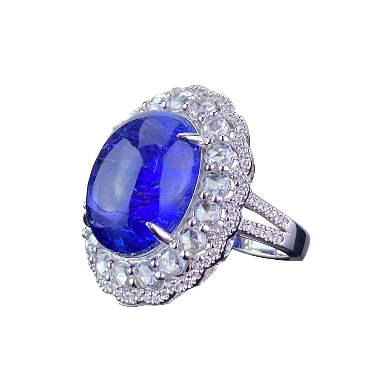 Certified 14.34 Tanzanite Cabochon and Diamond 18k White Gold Cocktail Ring
