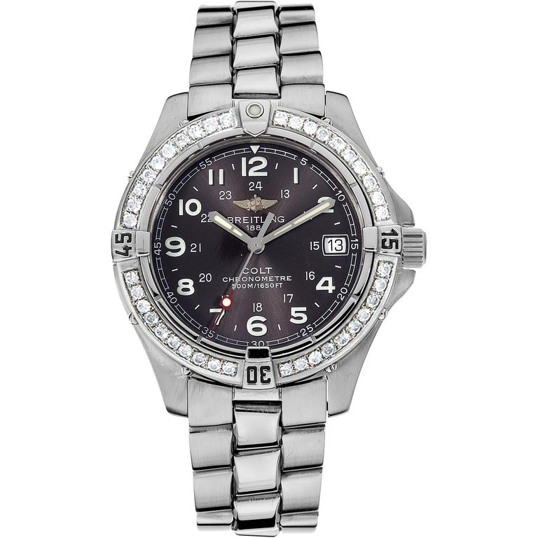 Certified 1.50 Carat Diamond Breitling Colt Chronometre 38mm Black-dial Diver Watch with genuine box and booklet papers (A74350 model). Certified by Gemological Institute in New York with diamond grading report and appraisal value.   Original