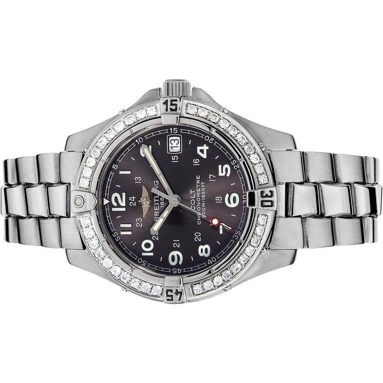 Round Cut Certified 1.50 Carat Diamond Breitling Colt Chronometre Diver Watch For Sale