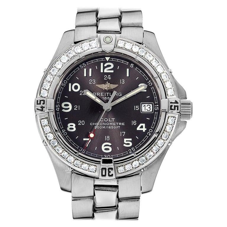 Certified 1.50 Carat Diamond Breitling Colt Chronometre Diver Watch For Sale
