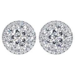 Certified 1.50 Carat Round Diamond Flower Cluster Halo Stud Earrings 14K Gold