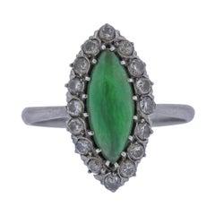 Certified 1.50ct Natural Jadeite Jade Platinum Diamond Ring