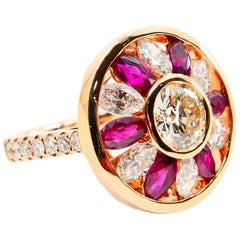 Certified 1.53 Carat Natural Ruby and Old Euro Cut Diamond Ring, 18 Karat Gold