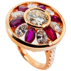 Certified 1.53 Cts Natural Burma Ruby & Old Euro Cut Diamond Ring, 18K Rose Gold