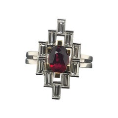Certified 1.55 Carat Natural Ruby and Baguette Diamond Art Deco Dress Ring