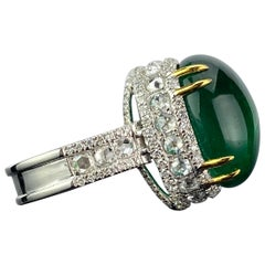 Certified 15.58 Carat Emerald Cabochon and Diamond Cocktail Ring