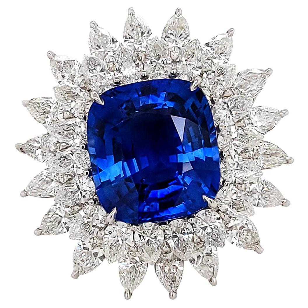 Certified 15.67 Carat Sapphire Diamond Cocktail Ring