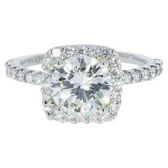 Certified 1.58 Carat Round Diamond in Cushion Shaped Halo Platinum Ring