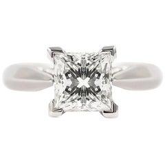 Certified 1.50 Carat Princess Cut Engagement Ring