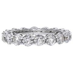 Certified 1.75 Carat Round Diamond Eternity Ring Band in 14 Karat White Gold