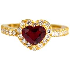 Certified 1.62 Carat Natural Ruby Diamonds Ring 14 Karat Heart Cut