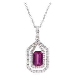 Certified 1.64 Carat No Heat Pink Sapphire 18 Karat White Gold Diamond Necklace